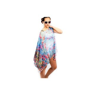 Womens Watercolor Summer Poncho Coverup