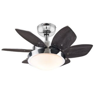 "Westinghouse 7863100 Quince 24"" 6 Blade Hanging Indoor Ceiling Fan with Reversible Motor, Blades, Light Kit, and Down Rod"