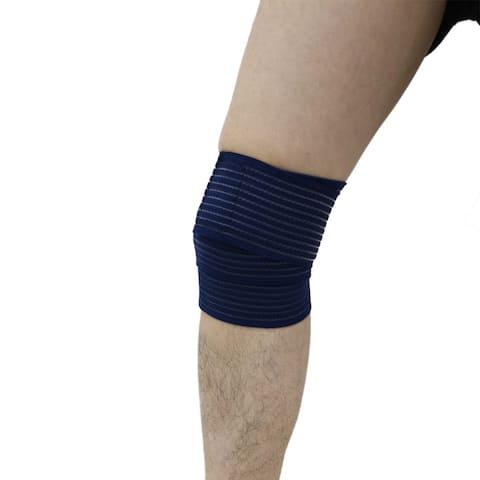 Unique Bargains Navy Hook Loop Closure Knee Support Wrap Bandage Sport Pain Guard Brace Strap