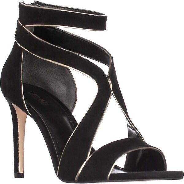 MICHAEL Michael Kors Harlen Sandal Strappy Sandals, Black/Pale Gold