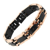 Men's Black & Rose Ion-Plated Stainless Steel Link Bracelet with Black Cubic Zirconia