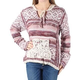 AMERICAN RAG $69 Women New 1609 Maroon Striped Lace Hooded Sweater M Juniors B+B