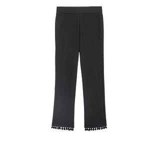 Bobeau Teddy Crop Pant with Pom Pom Trim