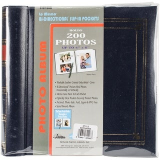 "Navy Blue - Pioneer 2-Up Bi-Directional Memo Pocket Photo Album 4""X6"""