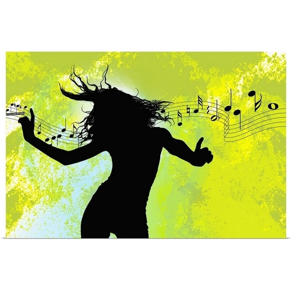Poster Print entitled Woman dancing to music - multi-color