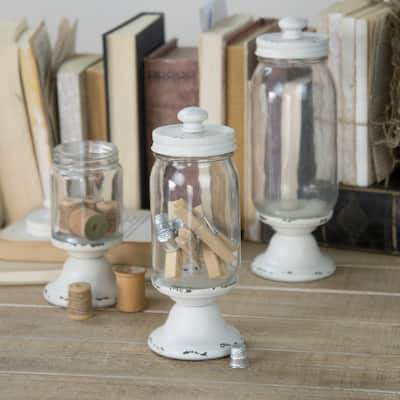 Set of 3 Glass Canister With Lid