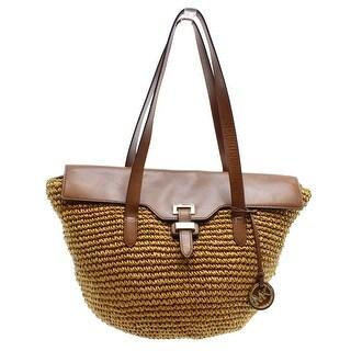 Michael Kors NEW Brown Walnut Straw Leather Naomi Large Tote Bag Purse