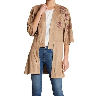 Melrose And Market Beige Women's Medium M Cardigan Faux-Suede Sweater