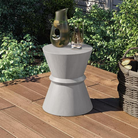 Modrest Ramos Modern Grey Concrete Round Accent Table