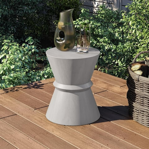 Modrest Ramos Modern Grey Concrete Round Accent Table