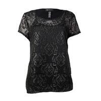 INC International Concepts Women's 2PC Faux Leather Design Top (M, Deep Black) - Deep Black - M