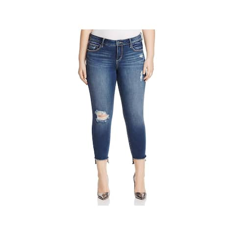 Slink Jeans Womens Dorothy Ankle Jeans Distressed Curvy Fit