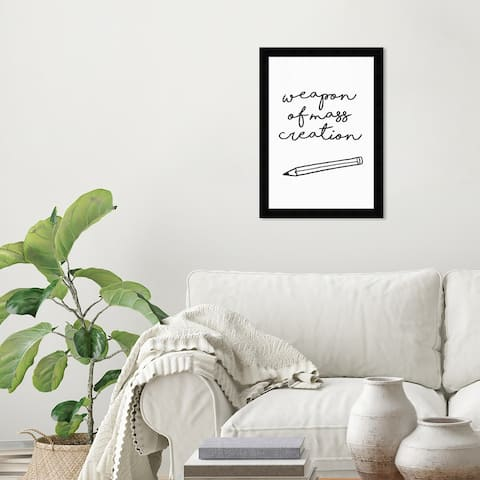 Wynwood Studio 'Weapon of Mass Creation' Typography and Quotes Wall Art Framed Print Quotes and Sayings - White, Black
