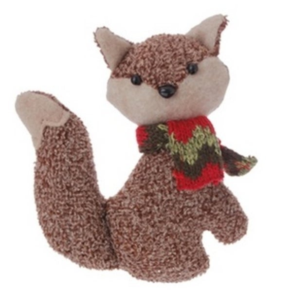 "4.75"" Country Cabin Brown Stuffed Fox with Red and Green Scarf Christmas Ornament"