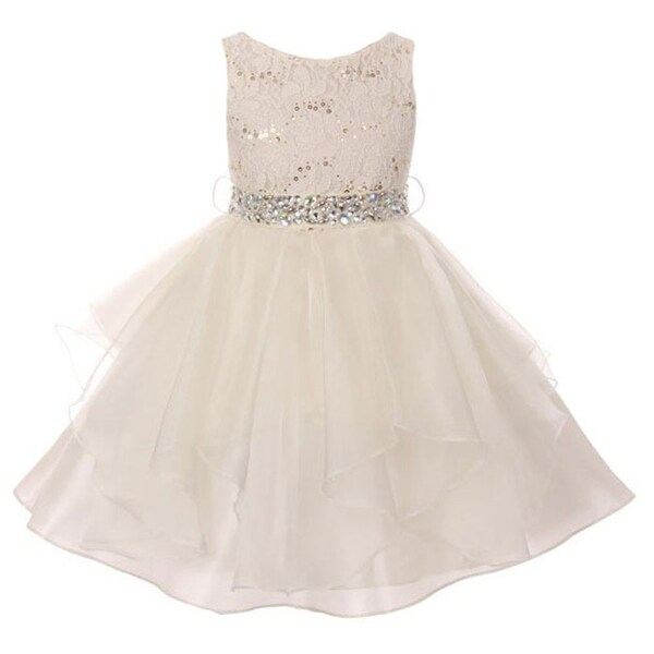 f7f530b3b62 Shop Girls Ivory Lace Crystal Tulle Ruffle Flower Girl Dress - Free  Shipping On Orders Over  45 - Overstock - 18176440