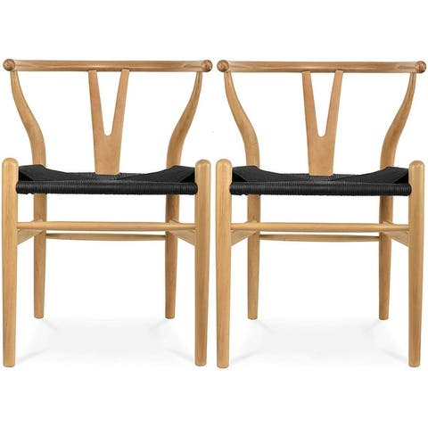 Set of 2 Woven Wood Armchair with Arms Open Y Back Office Dining Chairs Woven Black Seat For Kitchen Work Restaurant