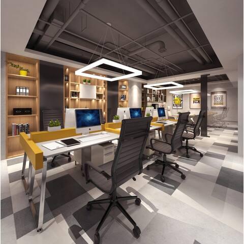 Black Modern High Back Office Chair Ribbed PU Leather Tilt Adjustable Rolling Wheels Conference Room Home on Black Base