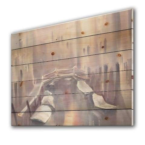 Designart 'Pastel GOndoLas In Venice During Morning II' Traditional Print on Natural Pine Wood