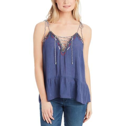Jessica Simpson Blue Womens Size Large L Ceri Embroidered Peplum Top