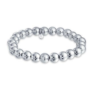 Bling Jewelry Sterling Silver 8mm Bead Stretch Bracelet Stackable 7.5 Inch