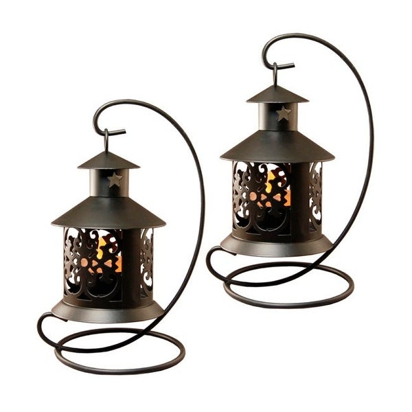 "Set of 2 Black Table Top Metal Lantern with Hanging Stands 7.75"" - N/A"