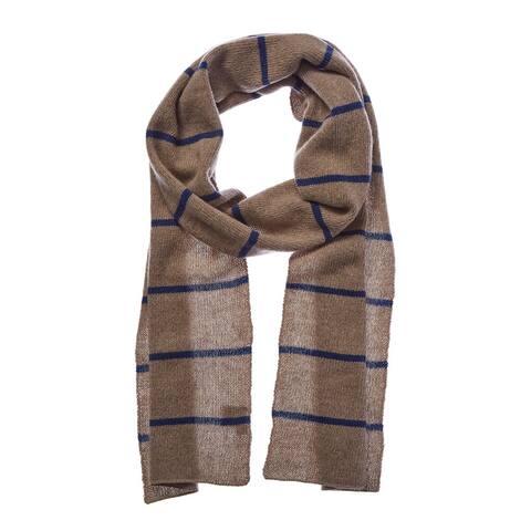 Portolano Men's Nile Brown & Blue Striped Cashmere Scarf - NoSize