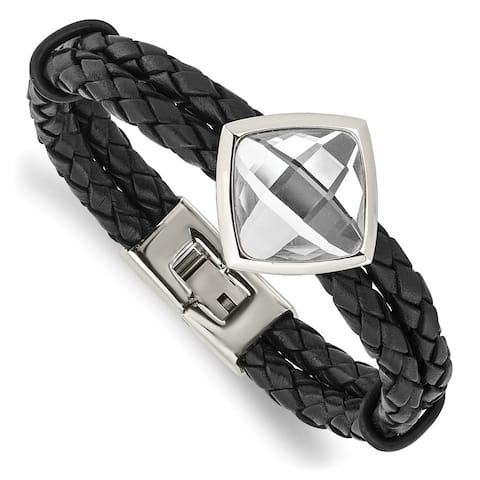 Chisel Stainless Steel Polished with Glass Stone Braided Leather 8 Inch Bracelet