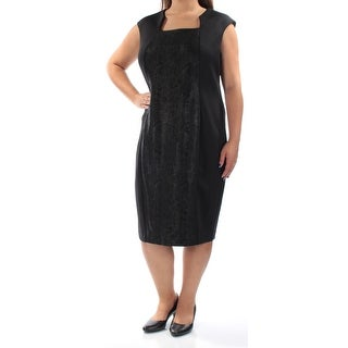 CALVIN KLEIN $139 Womens New 1005 Black Cap Sleeve Sheath Dress 16W Plus B+B