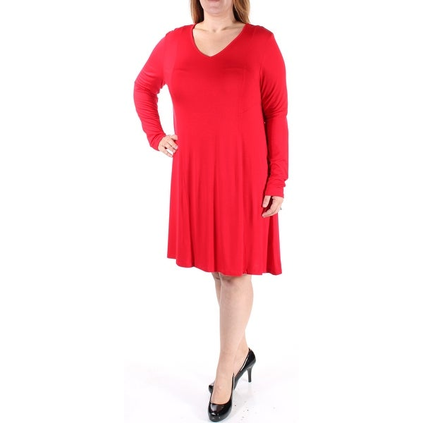 Shop KENSIE Womens Red Long Sleeve V Neck Above The Knee ALine Dress Size   XL - Free Shipping On Orders Over  45 - Overstock - 22426949 f7c39024e8