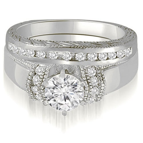 0.85 cttw. 14K White Gold Antique Style Cathedral Round Diamond Bridal Set