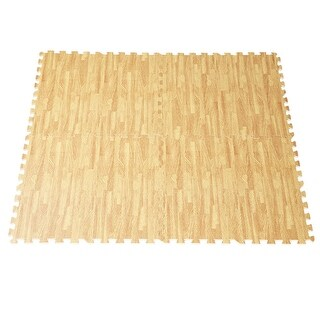 Costway EVA Foam Floor Interlocking Mat 48 Sq Ft - wood color