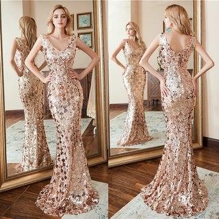Ever-Pretty Womens Elegant V-Neck Sequin Evening Dresses for Women 00809