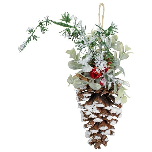 """13"""" Pine Cone with Mixed Foliage, Red Jingle Bells, and Berries Hanging Christmas Ornament. Opens flyout."""