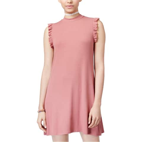One Clothing Womens Ribbed Shift Dress, Pink, Large