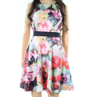 Ted Baker NEW Pink Womens Size 2 Floral Print Scuba Skater Dress