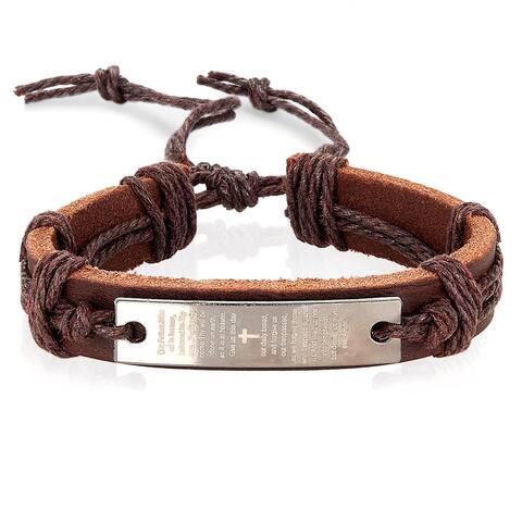 Men's Lord's Prayer Adjustable Leather Bracelet - (14mm Wide)