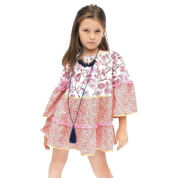 00f3433a73907 Azul Girls Pink Boho Chic Pom-Pom Adorned Long Sleeved Dress - 12/14