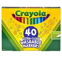 Crayola Ultra-Clean Washable Markers, Fine Line, Assorted Colors, Pack of 40