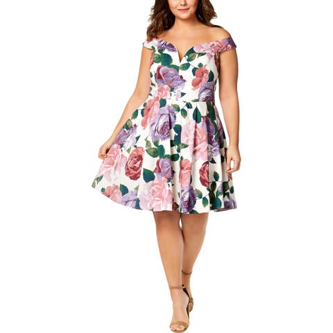 City Studio Womens Casual Dress Floral Off-The-Shoulder