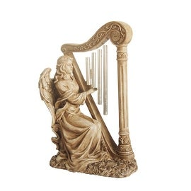 "16"" Seated Angel Playing Harp Outdoor Patio Garden Wind Chime Statue"
