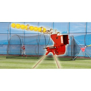 Heater Combo Baseball & Softball Pitching Machine With Auto Ball Feeder & Xtender 24' L x 12' W x 12' H' Batting Cage