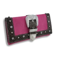 Western Trifold Wallet with Rhinestone Buckle Brown Trim