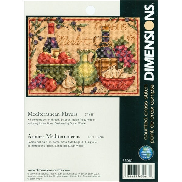"Mediterranean Flavors Mini Counted Cross Stitch Kit-7""X5"" 14 Count"