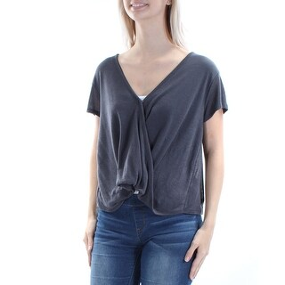 WE THE FREE $58 Womens New 1009 Gray Short Sleeve Faux Wrap Sweater XS B+B