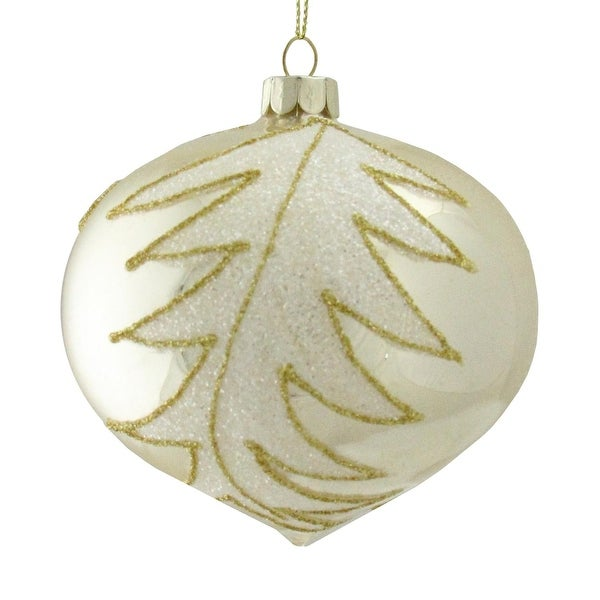 """4.25"""" Glittery White and Gold Leaves Glass Onion Shiny Silver Christmas Ornament"""