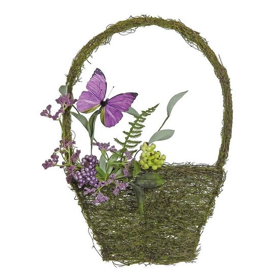 "15"" Purple and Green Mixed Berry and Butterfly Artificial Wall Basket Decoration"