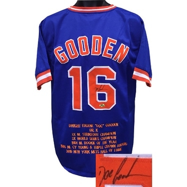 new products 71235 99536 Dwight Gooden signed Blue TB Custom Stitched Baseball Jersey w Embroidered  Stats XL