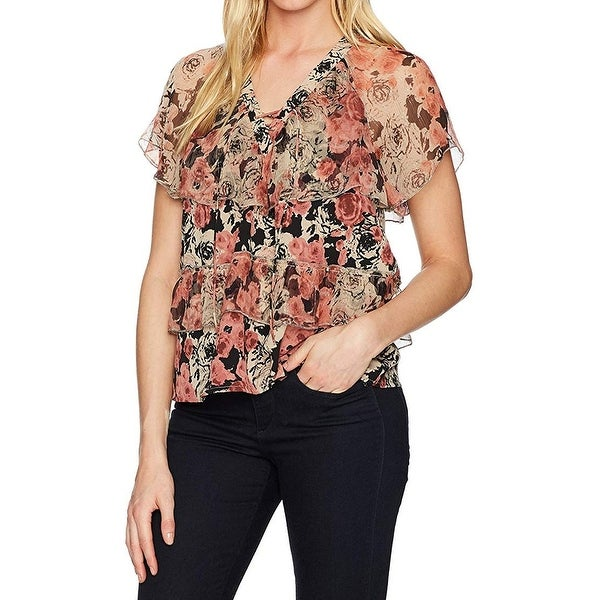 Lucky Brand Women's Small Floral Tiered Lace-Up Blouse
