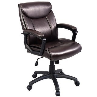 Costway Ergonomic PU Leather Mid-Back Executive Computer Desk Task Office Chair Brown