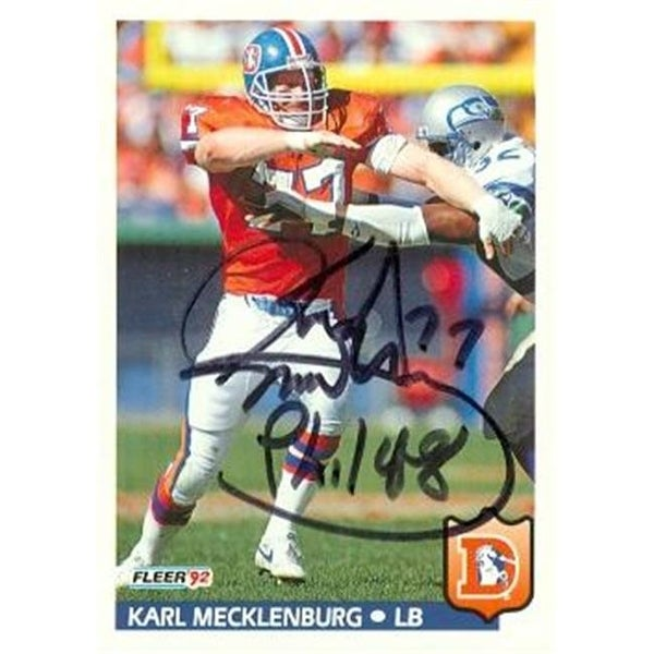 Shop Karl Mecklenburg Autographed Football Card Denver Broncos 1992 - Free  Shipping On Orders Over  45 - - 23773567 a67734ec2